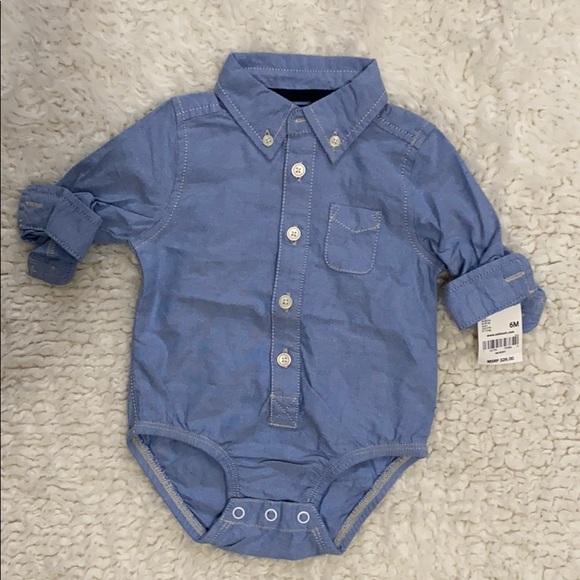 Osh Kosh boy's collared blue bodysuit. NWT